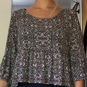 Flared Sleeve Flowered Free People Blouse